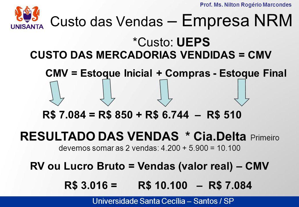 Universidade Santa Cecília – Santos / SP Prof. Ms. Nilton Rogério Marcondes Custo das Vendas – Empresa NRM *Custo: UEPS CUSTO DAS MERCADORIAS VENDIDAS