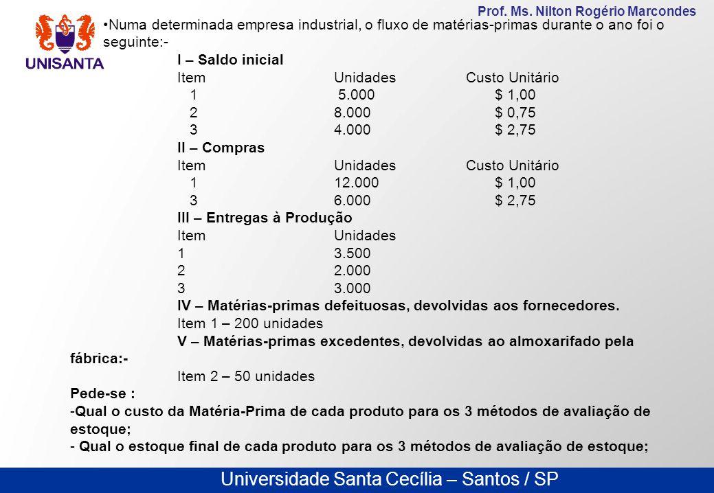Universidade Santa Cecília – Santos / SP Prof. Ms. Nilton Rogério Marcondes Numa determinada empresa industrial, o fluxo de matérias-primas durante o