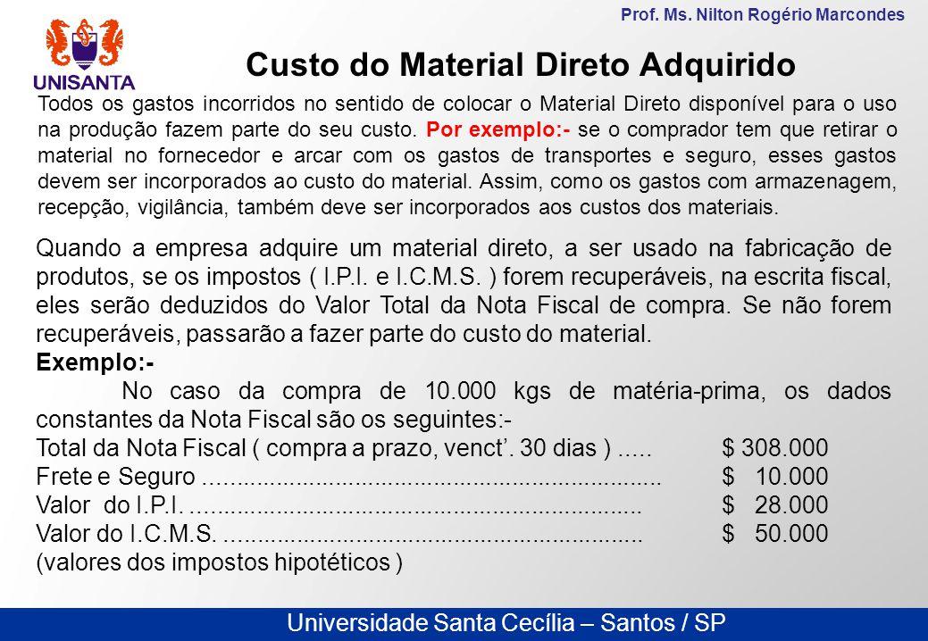 Universidade Santa Cecília – Santos / SP Prof. Ms. Nilton Rogério Marcondes Custo do Material Direto Adquirido Todos os gastos incorridos no sentido d