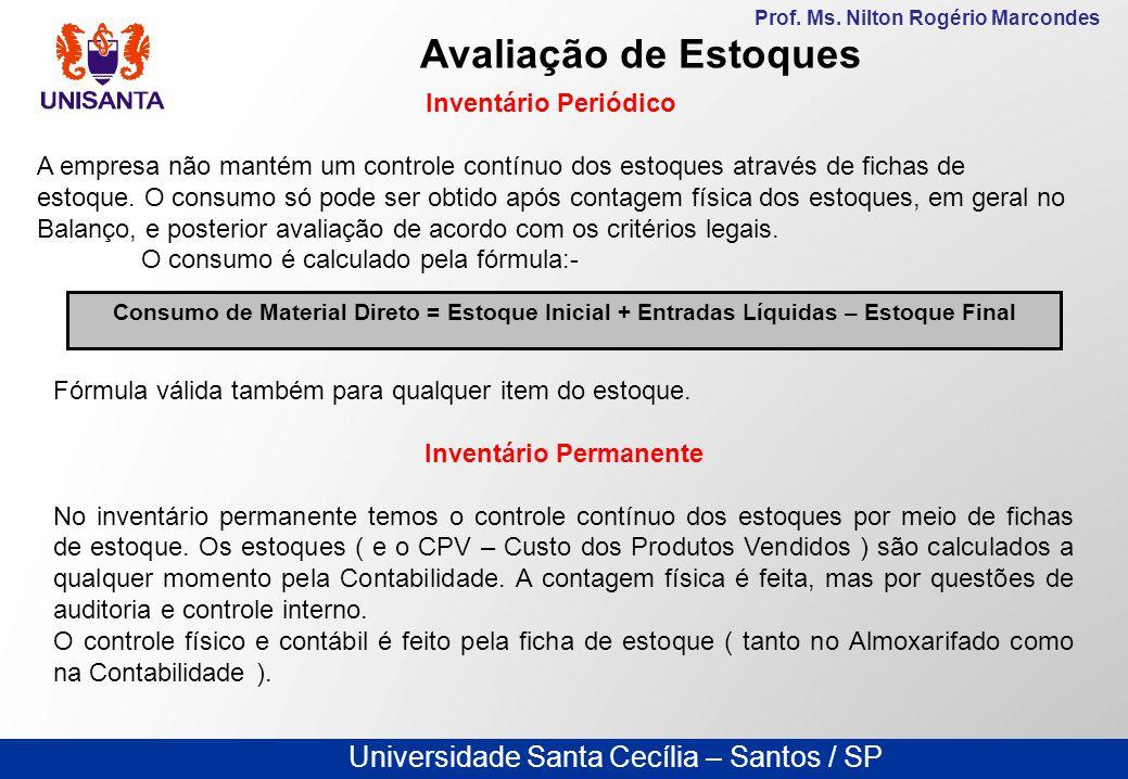 Universidade Santa Cecília – Santos / SP Prof. Ms. Nilton Rogério Marcondes Avaliação de Estoques Inventário Periódico A empresa não mantém um control