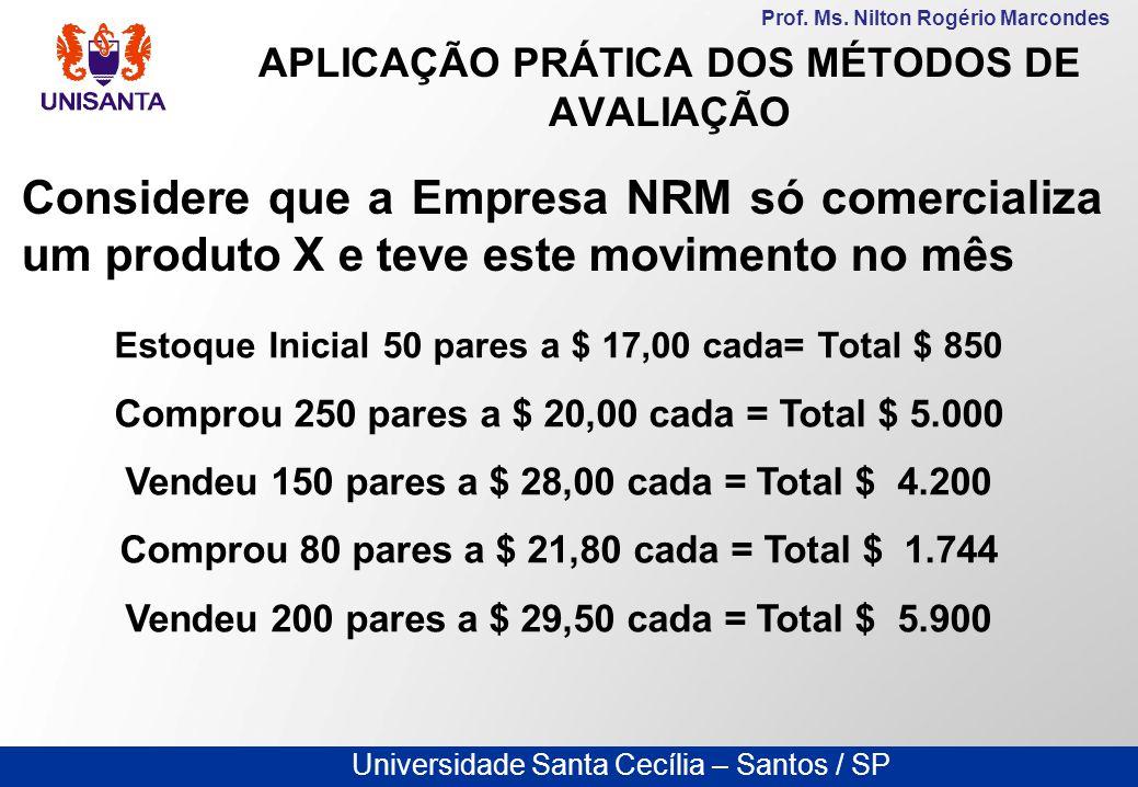 Universidade Santa Cecília – Santos / SP Prof. Ms. Nilton Rogério Marcondes APLICAÇÃO PRÁTICA DOS MÉTODOS DE AVALIAÇÃO Considere que a Empresa NRM só