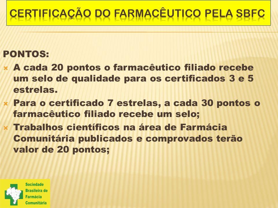 PONTOS:  A cada 20 pontos o farmacêutico filiado recebe um selo de qualidade para os certificados 3 e 5 estrelas.  Para o certificado 7 estrelas, a