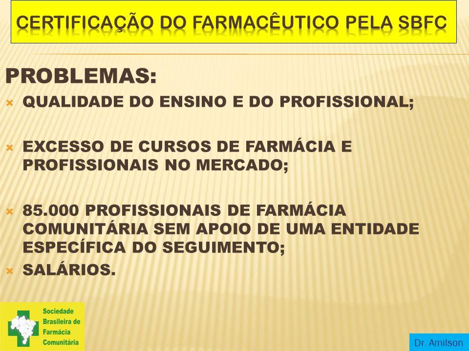 PROBLEMAS:  QUALIDADE DO ENSINO E DO PROFISSIONAL;  EXCESSO DE CURSOS DE FARMÁCIA E PROFISSIONAIS NO MERCADO;  85.000 PROFISSIONAIS DE FARMÁCIA COM