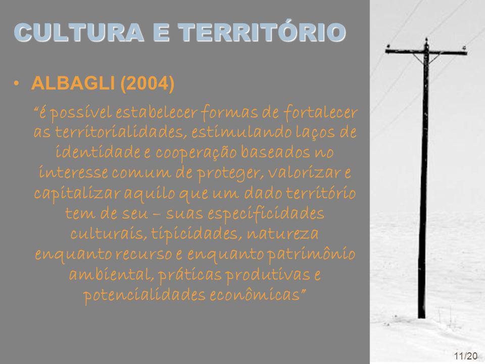 CULTURA E TERRITÓRIO ALBAGLI (2004) é possível estabelecer formas de fortalecer as territorialidades, estimulando laços de identidade e cooperação baseados no interesse comum de proteger, valorizar e capitalizar aquilo que um dado território tem de seu – suas especificidades culturais, tipicidades, natureza enquanto recurso e enquanto patrimônio ambiental, práticas produtivas e potencialidades econômicas 11/20