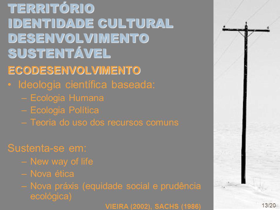 TERRITÓRIO IDENTIDADE CULTURAL DESENVOLVIMENTO SUSTENTÁVEL ECODESENVOLVIMENTO Ideologia científica baseada: –Ecologia Humana –Ecologia Política –Teoria do uso dos recursos comuns Sustenta-se em: –New way of life –Nova ética –Nova práxis (equidade social e prudência ecológica) VIEIRA (2002), SACHS (1986) 13/20