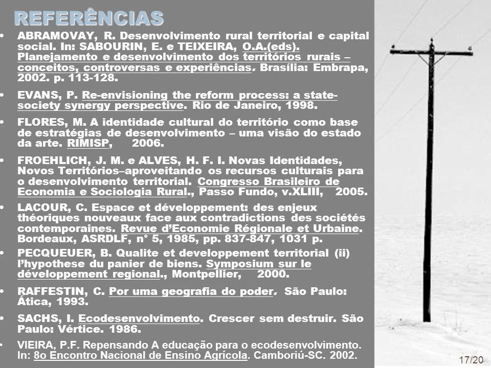 REFERÊNCIAS ABRAMOVAY, R. Desenvolvimento rural territorial e capital social.