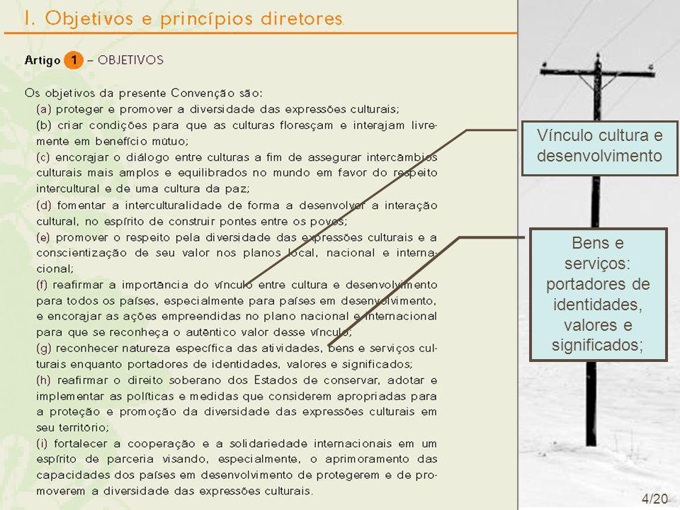 Vínculo cultura e desenvolvimento Bens e serviços: portadores de identidades, valores e significados; 4/20