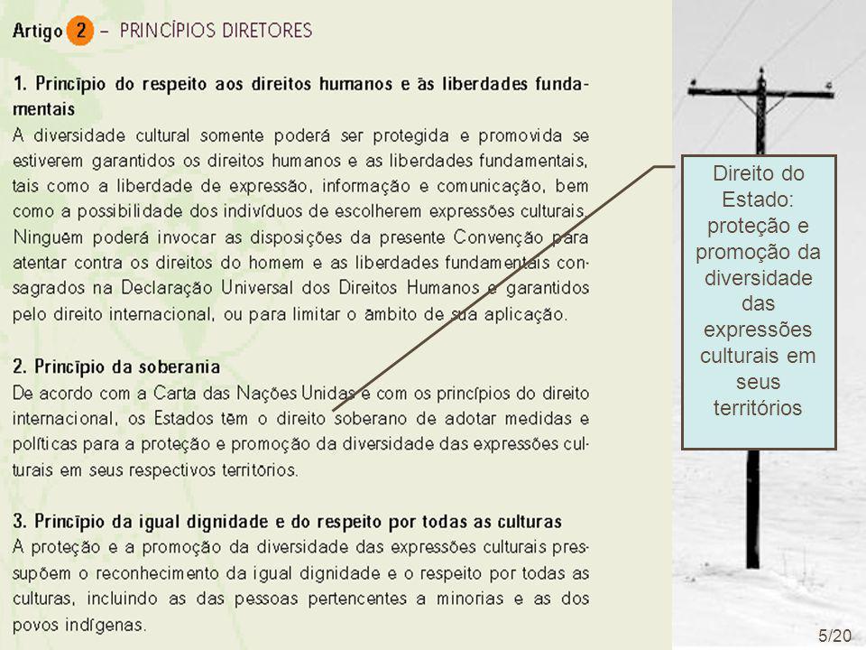 Direito do Estado: proteção e promoção da diversidade das expressões culturais em seus territórios 5/20