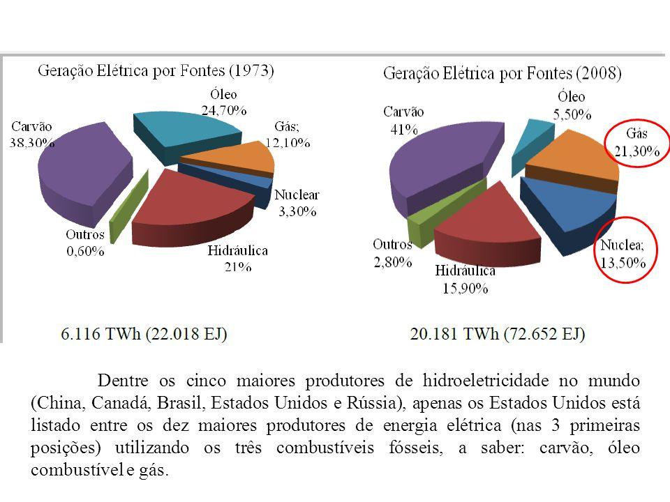 Dentre os cinco maiores produtores de hidroeletricidade no mundo (China, Canadá, Brasil, Estados Unidos e Rússia), apenas os Estados Unidos está lista