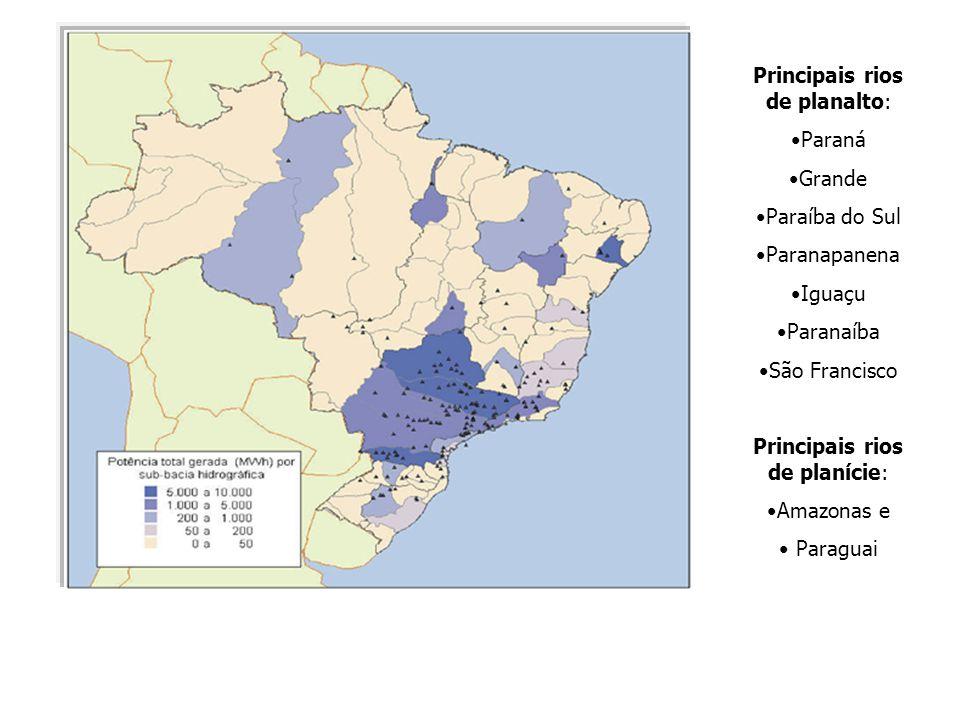 Principais rios de planalto: Paraná Grande Paraíba do Sul Paranapanena Iguaçu Paranaíba São Francisco Principais rios de planície: Amazonas e Paraguai