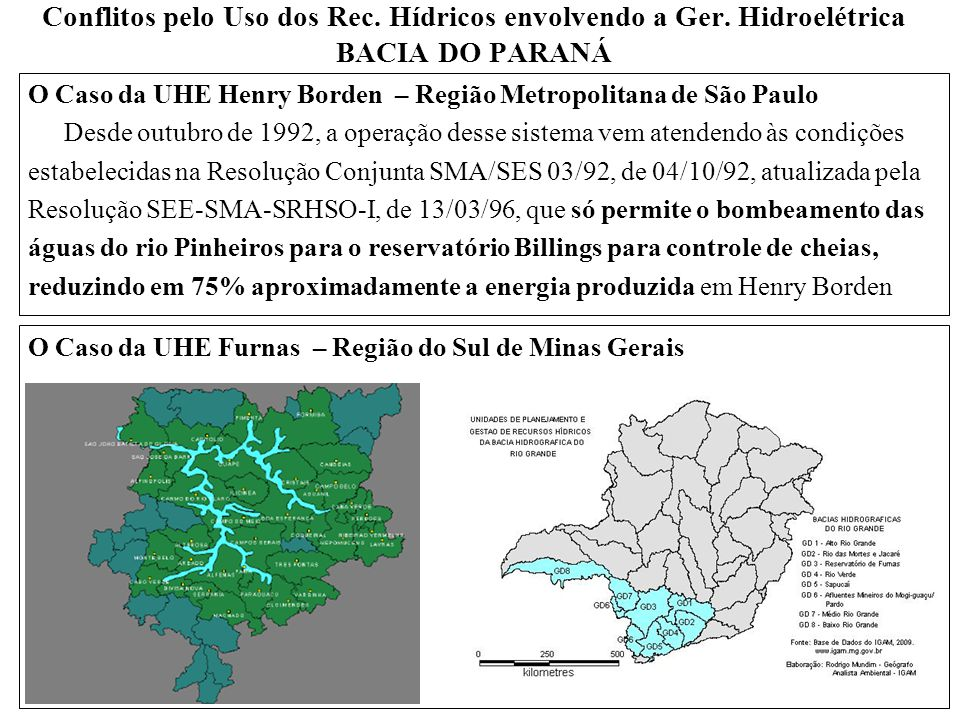 Conflitos pelo Uso dos Rec. Hídricos envolvendo a Ger. Hidroelétrica BACIA DO PARANÁ O Caso da UHE Henry Borden – Região Metropolitana de São Paulo De