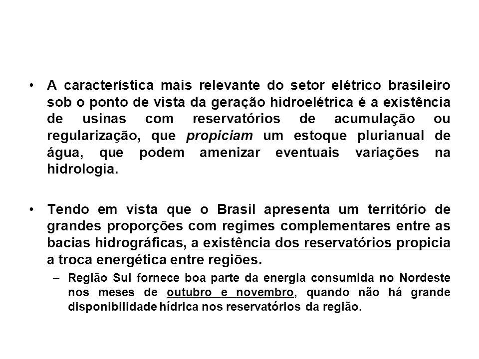 A característica mais relevante do setor elétrico brasileiro sob o ponto de vista da geração hidroelétrica é a existência de usinas com reservatórios