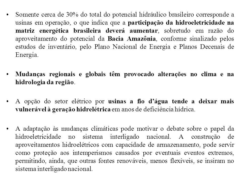 Somente cerca de 30% do total do potencial hidráulico brasileiro corresponde a usinas em operação, o que indica que a participação da hidroeletricidad