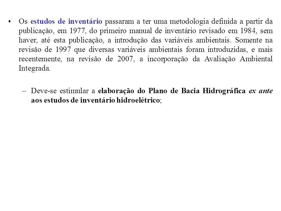Os estudos de inventário passaram a ter uma metodologia definida a partir da publicação, em 1977, do primeiro manual de inventário revisado em 1984, s