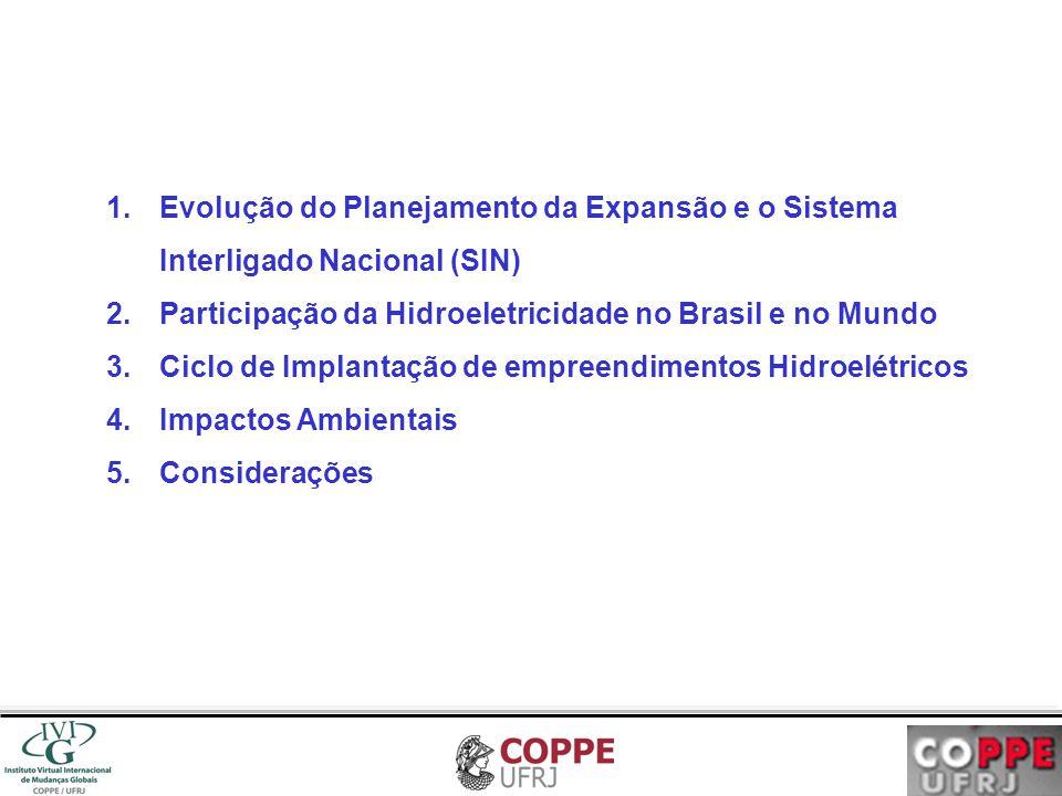 1.Evolução do Planejamento da Expansão e o Sistema Interligado Nacional (SIN) 2.Participação da Hidroeletricidade no Brasil e no Mundo 3.Ciclo de Impl