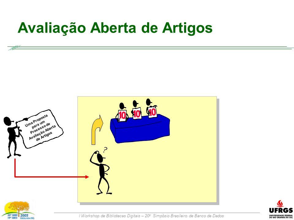 I Workshop de Bibliotecas Digitais – 20 o Simpósio Brasileiro de Banco de Dados Avaliação Aberta de Artigos Uma Proposta para um Processo de Avaliação Aberta de Artigos
