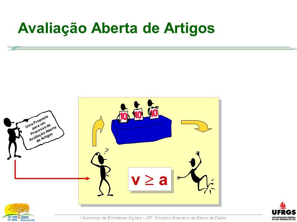 I Workshop de Bibliotecas Digitais – 20 o Simpósio Brasileiro de Banco de Dados Avaliação Aberta de Artigos Uma Proposta para um Processo de Avaliação Aberta de Artigos v  a