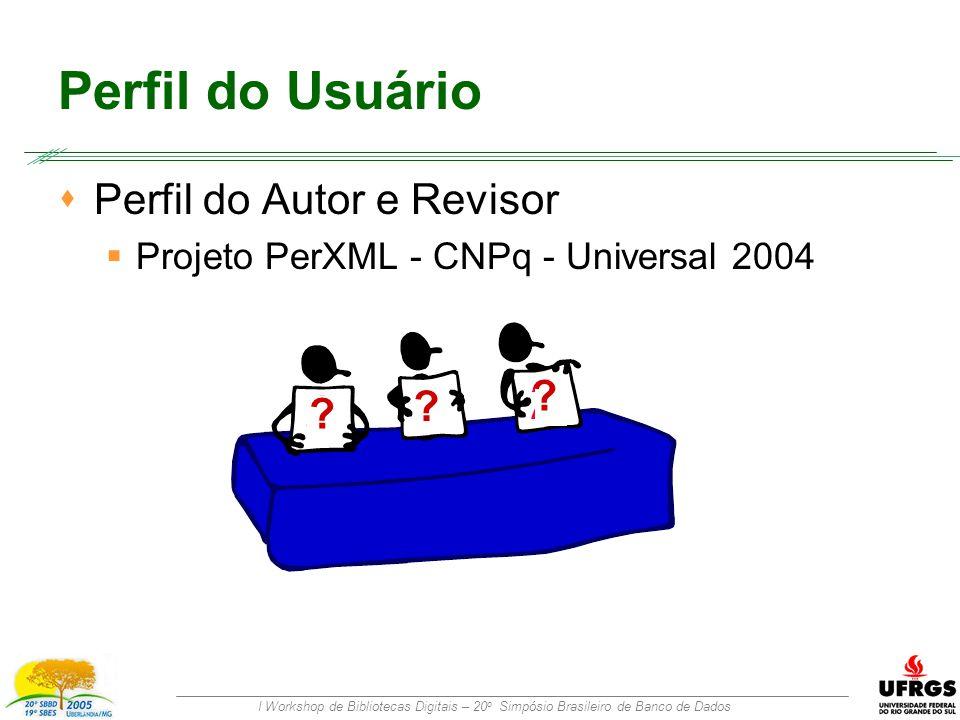 I Workshop de Bibliotecas Digitais – 20 o Simpósio Brasileiro de Banco de Dados Perfil do Usuário  Perfil do Autor e Revisor  Projeto PerXML - CNPq - Universal 2004 .