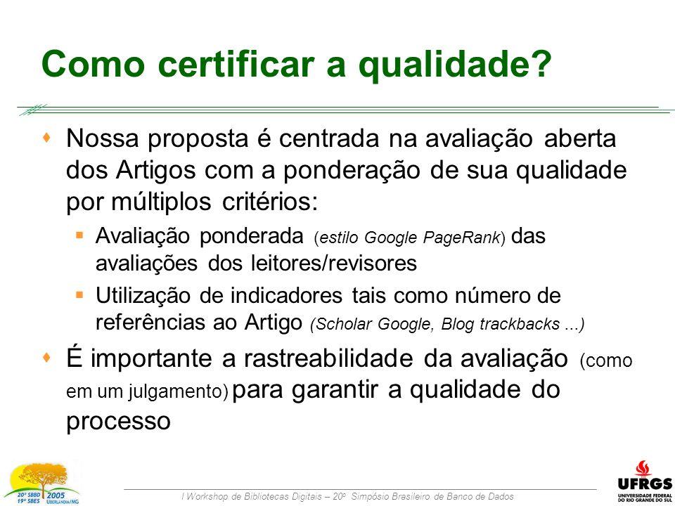 I Workshop de Bibliotecas Digitais – 20 o Simpósio Brasileiro de Banco de Dados Como certificar a qualidade.