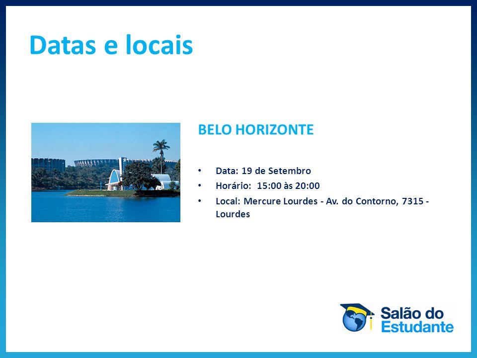 Datas e locais VITÓRIA Data: 21 de Setembro Horário: 14:00 às 19:00 Local: Centro de Convenções Vitória (Salão Nobre) - R.
