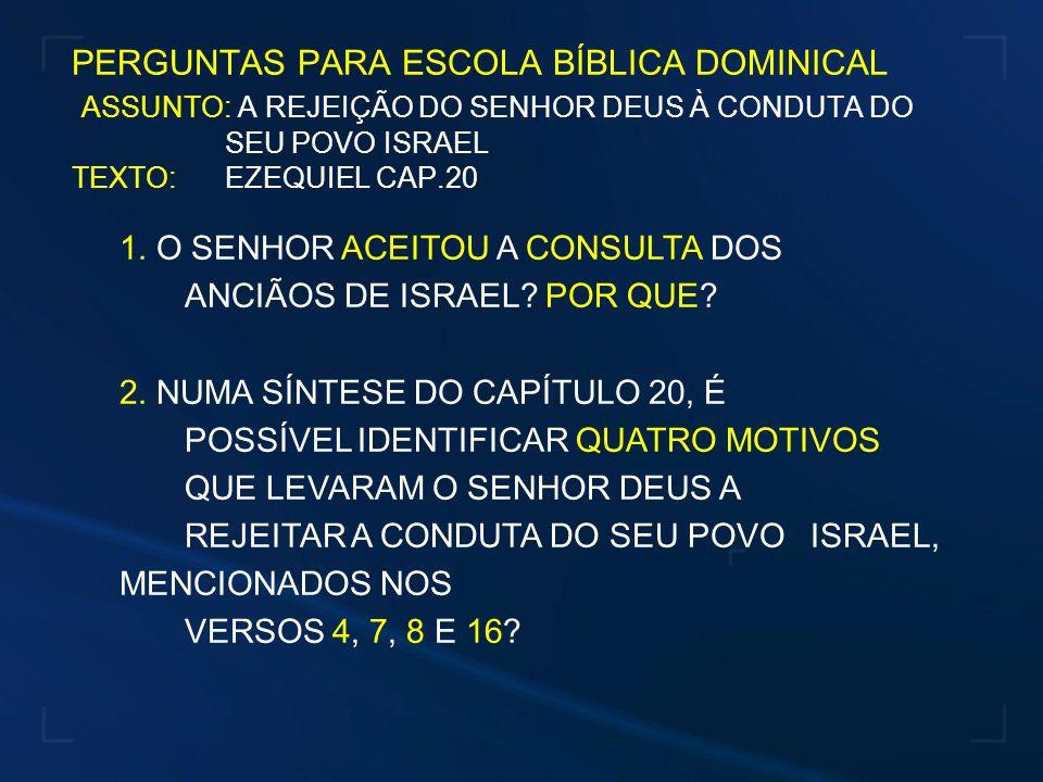 4 – REJEIÇÃO AOS JUÍZOS E ESTATUTOS DO SENHOR: VS.16 - JUÍZOS = LIVRAMENTO PARA AQUELE QUE CRÊ - ESTATUTOS = ANDAR CONFORME A ORIENTAÇÃO DO ESPÍRITO SANTO - PROFANAR OS SÁBADOS = JESUS, O NOSSO DESCANSO