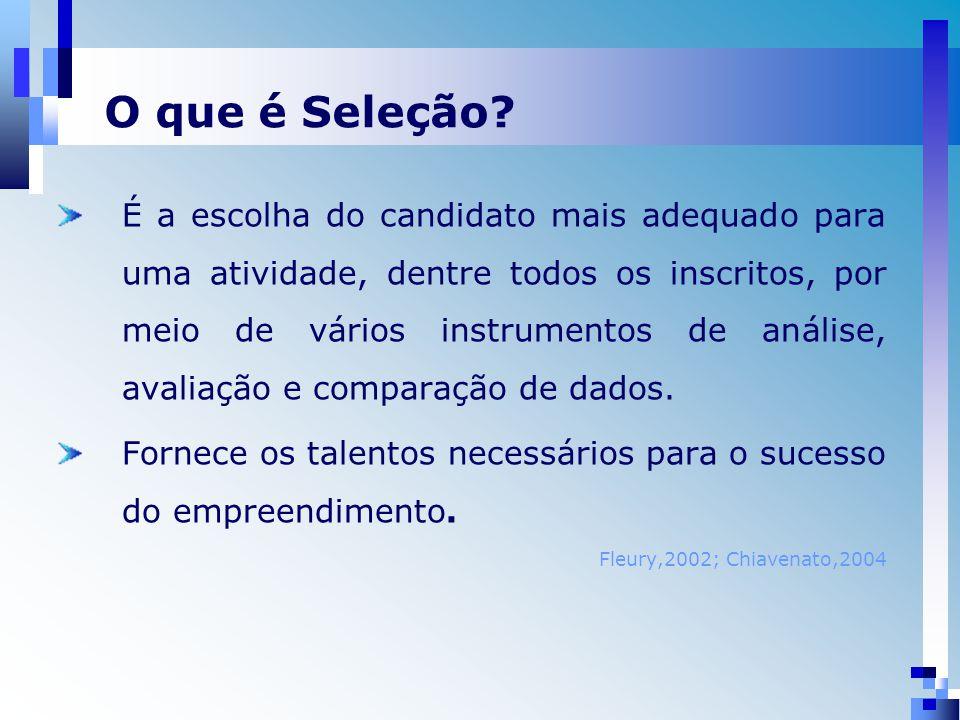 É a escolha do candidato mais adequado para uma atividade, dentre todos os inscritos, por meio de vários instrumentos de análise, avaliação e comparação de dados.