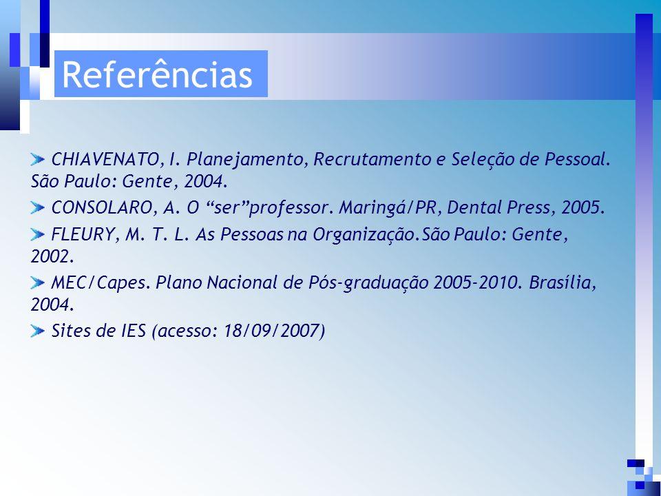 Referências CHIAVENATO, I. Planejamento, Recrutamento e Seleção de Pessoal.