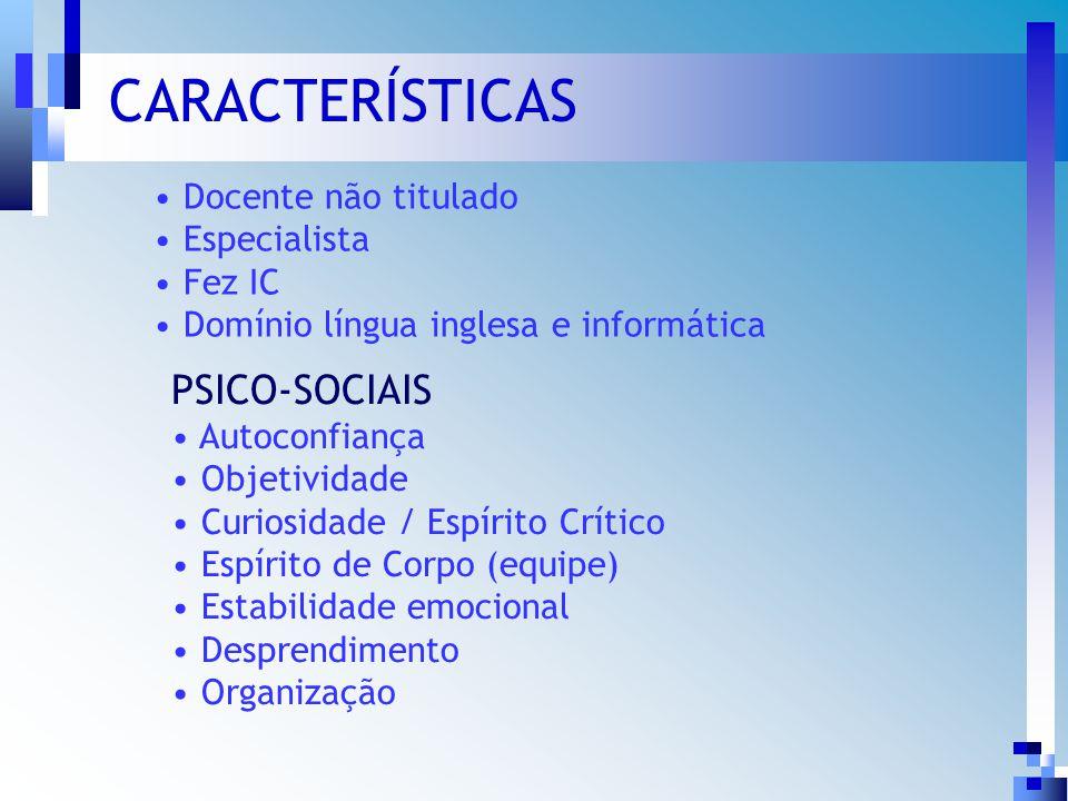 Avaliação Psicológica Identificação do perfil psicológico Escolha de pessoas com comportamentos e atitudes mais adequados aos objetivos do Programa Integração da turma Coordenação de Pós-graduação, Pesquisa e Extensão Programa de Pós-graduação em Odontologia / PPgO PSICO-SOCIAIS Autoconfiança Objetividade Curiosidade / Espírito Crítico Espírito de Corpo (equipe) Estabilidade emocional Desprendimento Organização