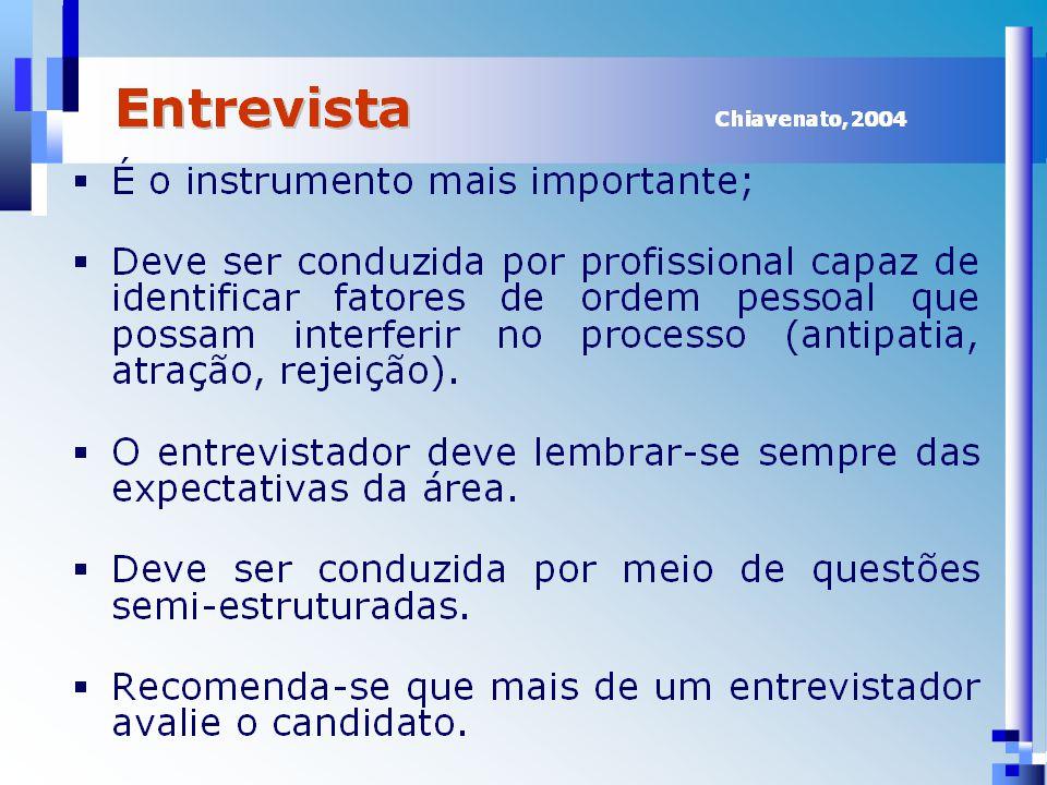 Referências CHIAVENATO, I.Planejamento, Recrutamento e Seleção de Pessoal.