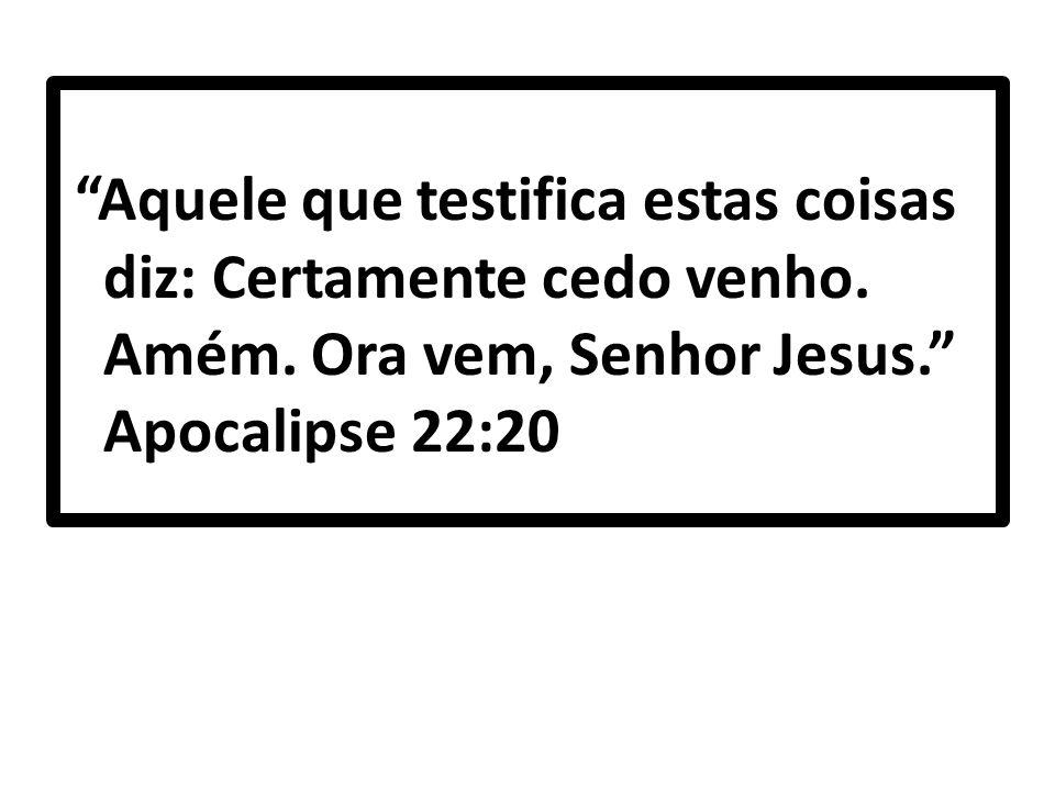 """""""Aquele que testifica estas coisas diz: Certamente cedo venho. Amém. Ora vem, Senhor Jesus."""" Apocalipse 22:20"""