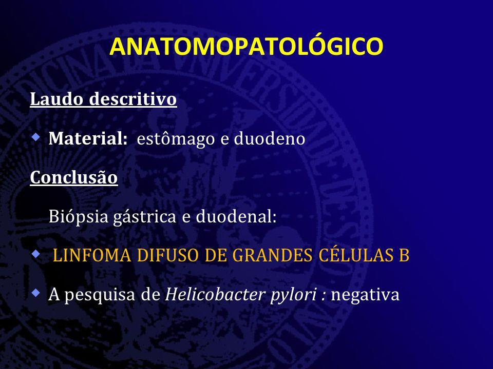 ANATOMOPATOLÓGICO Laudo descritivo  Material: estômago e duodeno Conclusão Biópsia gástrica e duodenal:  LINFOMA DIFUSO DE GRANDES CÉLULAS B  A pesquisa de Helicobacter pylori : negativa