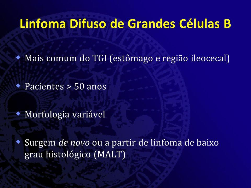 Linfoma Difuso de Grandes Células B  Mais comum do TGI (estômago e região ileocecal)  Pacientes > 50 anos  Morfologia variável  Surgem de novo ou a partir de linfoma de baixo grau histológico (MALT)