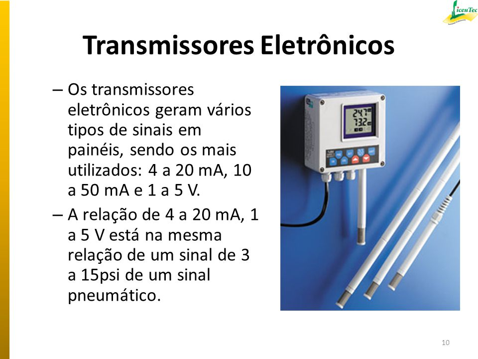 Transmissores Eletrônicos – Os transmissores eletrônicos geram vários tipos de sinais em painéis, sendo os mais utilizados: 4 a 20 mA, 10 a 50 mA e 1
