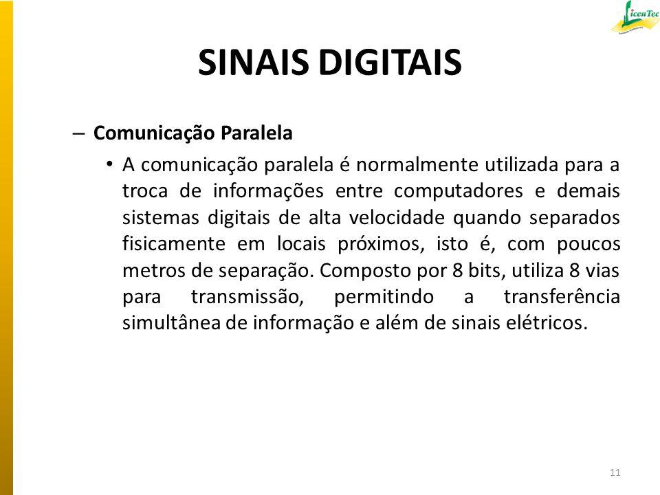 SINAIS DIGITAIS – Comunicação Paralela A comunicação paralela é normalmente utilizada para a troca de informações entre computadores e demais sistemas
