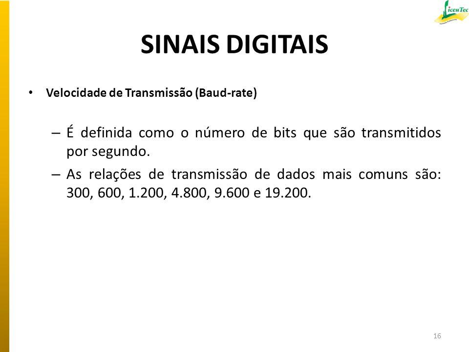 SINAIS DIGITAIS Velocidade de Transmissão (Baud-rate) – É definida como o número de bits que são transmitidos por segundo. – As relações de transmissã
