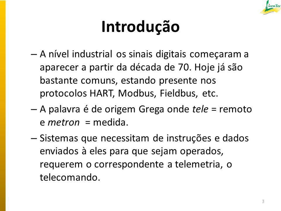 Introdução – A nível industrial os sinais digitais começaram a aparecer a partir da década de 70. Hoje já são bastante comuns, estando presente nos pr