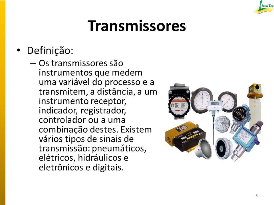 Transmissores Definição: – Os transmissores são instrumentos que medem uma variável do processo e a transmitem, a distância, a um instrumento receptor