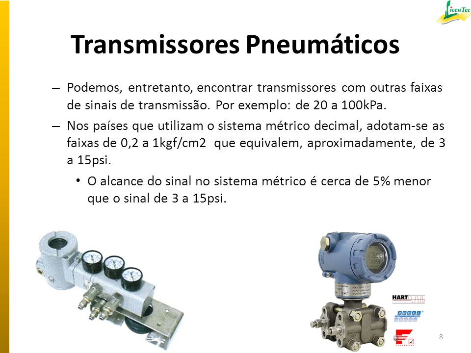 Transmissores Pneumáticos – Podemos, entretanto, encontrar transmissores com outras faixas de sinais de transmissão. Por exemplo: de 20 a 100kPa. – No