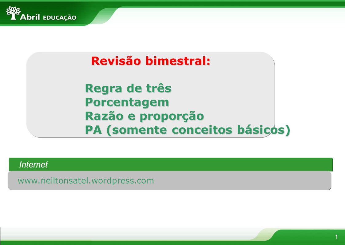 Revisão bimestral: Revisão bimestral: Regra de três Regra de três Porcentagem Razão e proporção Razão e proporção PA (somente conceitos básicos) PA (s