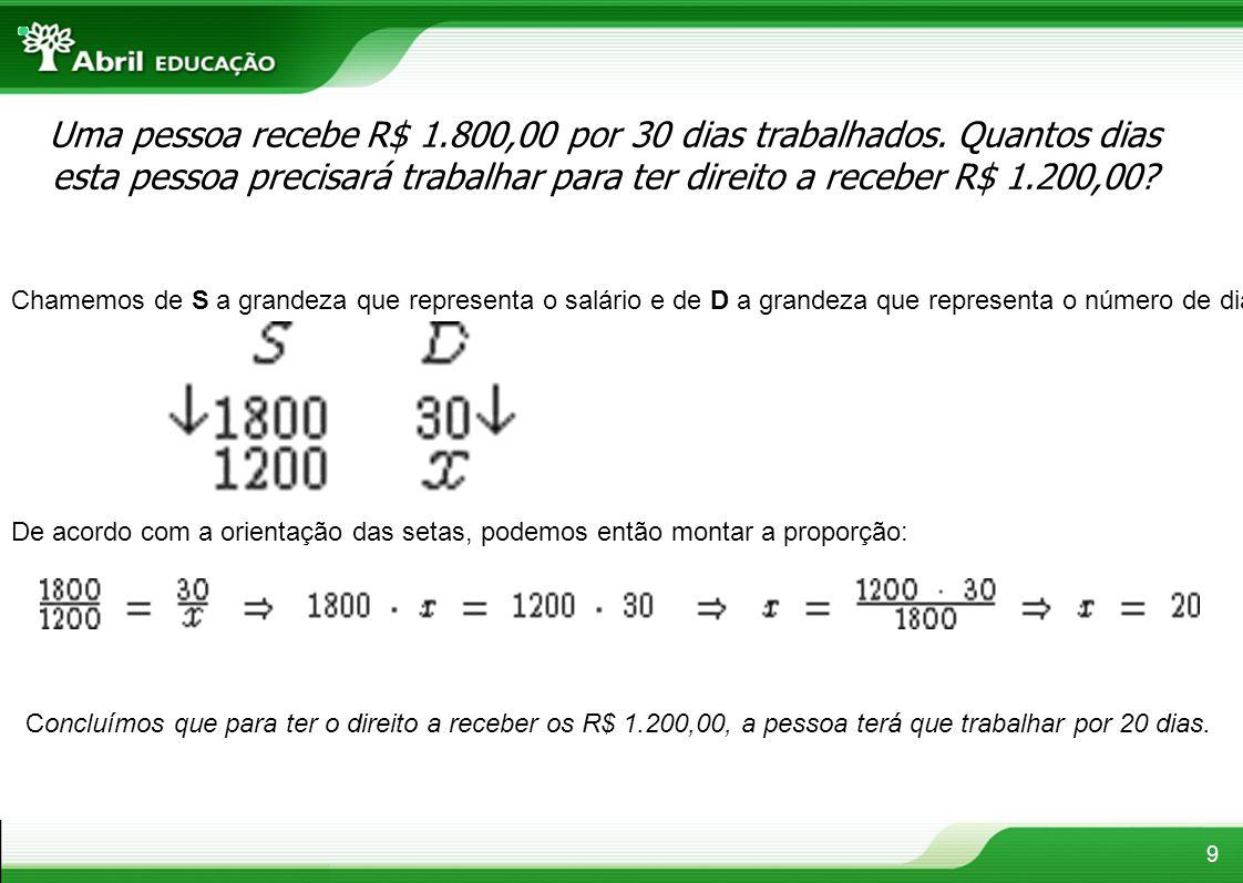 9 Uma pessoa recebe R$ 1.800,00 por 30 dias trabalhados. Quantos dias esta pessoa precisará trabalhar para ter direito a receber R$ 1.200,00? Chamemos