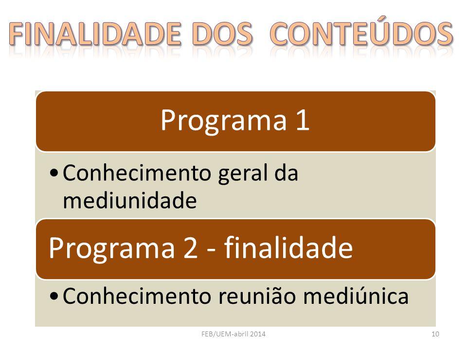 Programa 1 Conhecimento geral da mediunidade Programa 2 - finalidade Conhecimento reunião mediúnica 10FEB/UEM-abril 2014