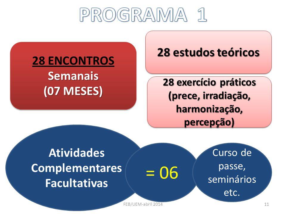 28 ENCONTROSSemanais (07 MESES) 28 ENCONTROSSemanais (07 MESES) 28 estudos teóricos 28 exercício práticos (prece, irradiação, harmonização, percepção)