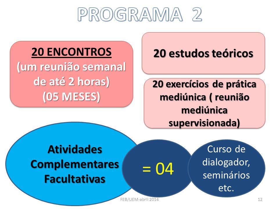 20 ENCONTROS (um reunião semanal de até 2 horas) (05 MESES) 20 ENCONTROS (um reunião semanal de até 2 horas) (05 MESES) 20 estudos teóricos 20 exercíc