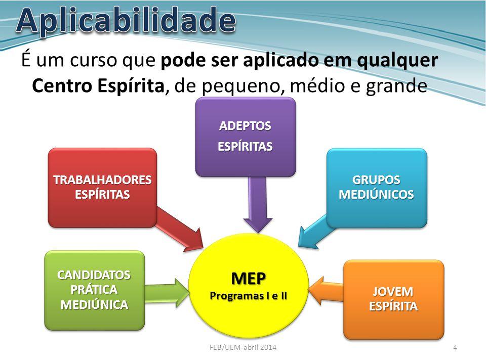É um curso que pode ser aplicado em qualquer Centro Espírita, de pequeno, médio e grande porte. MEP Programas I e II TRABALHADORES ESPÍRITAS CANDIDATO