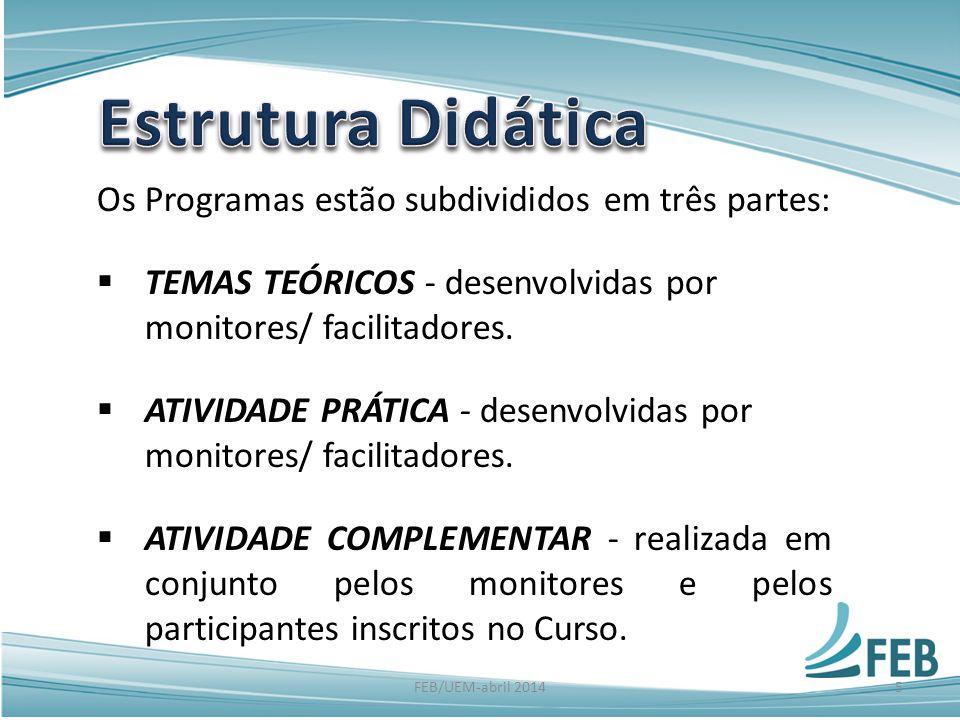 Os Programas estão subdivididos em três partes:  TEMAS TEÓRICOS - desenvolvidas por monitores/ facilitadores.  ATIVIDADE PRÁTICA - desenvolvidas por