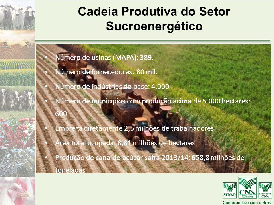 Cadeia Produtiva do Setor Sucroenergético Número de usinas (MAPA): 389. Número de fornecedores: 80 mil. Número de indústrias de base: 4.000 Número de
