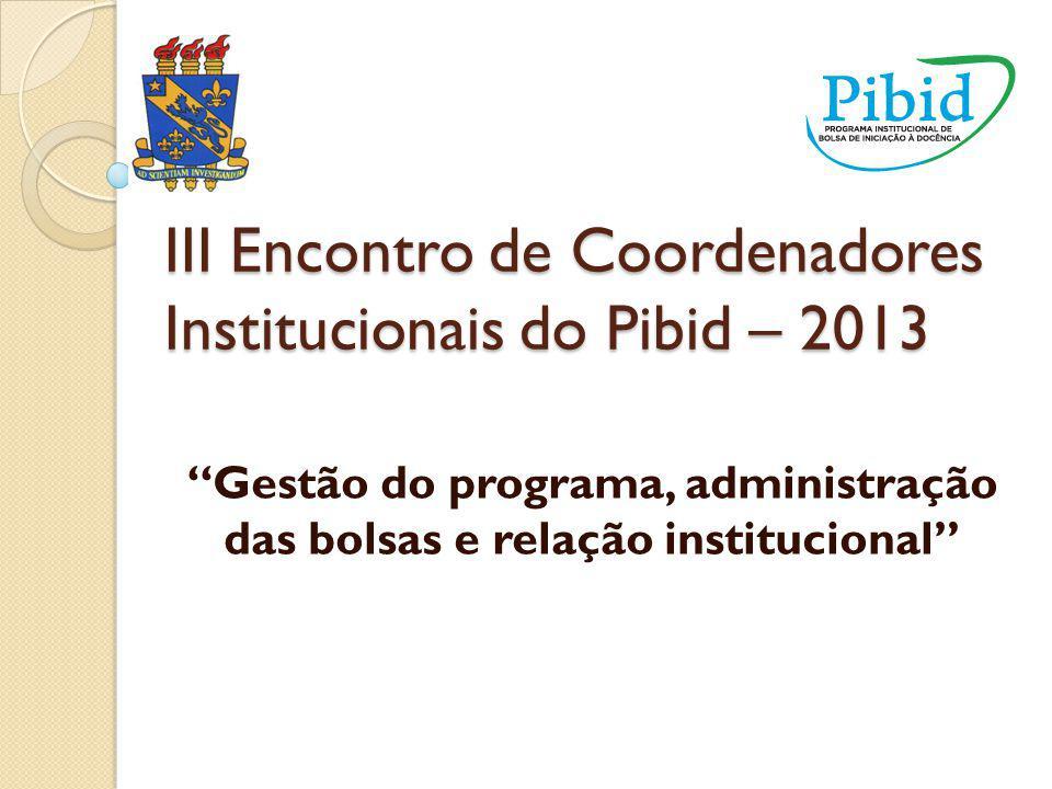PIBID/UESPI O reconhecimento institucional: Apoio nas atividades dos bolsistas, com transporte de alunos para eventos; Compra de equipamentos e mobiliário para a sala do PIBID; Destinação de espaço para funcionamento do Programa PIBID.