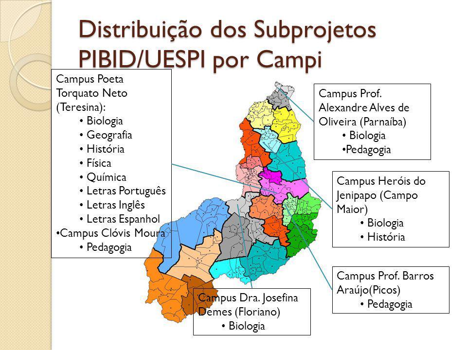 Distribuição de Bolsas PIBID/UESPI por Campus/Subprojeto Municípi o SubprojetoAno do Edital BOLSAS Coord.
