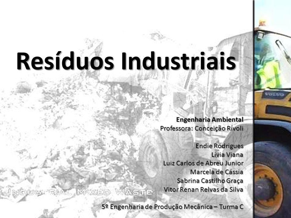 Resíduos Industriais Engenharia Ambiental Professora: Conceição Rívoli Endie Rodrigues Livia Viana Luiz Carlos de Abreu Junior Marcela de Cássia Sabri