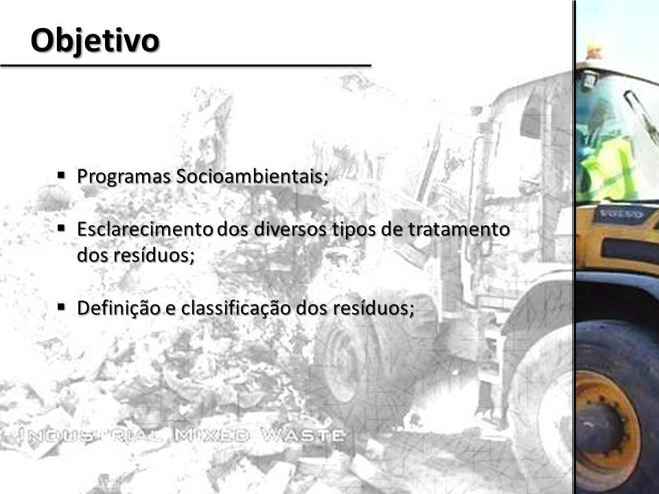 Objetivo  Programas Socioambientais;  Esclarecimento dos diversos tipos de tratamento dos resíduos;  Definição e classificação dos resíduos;